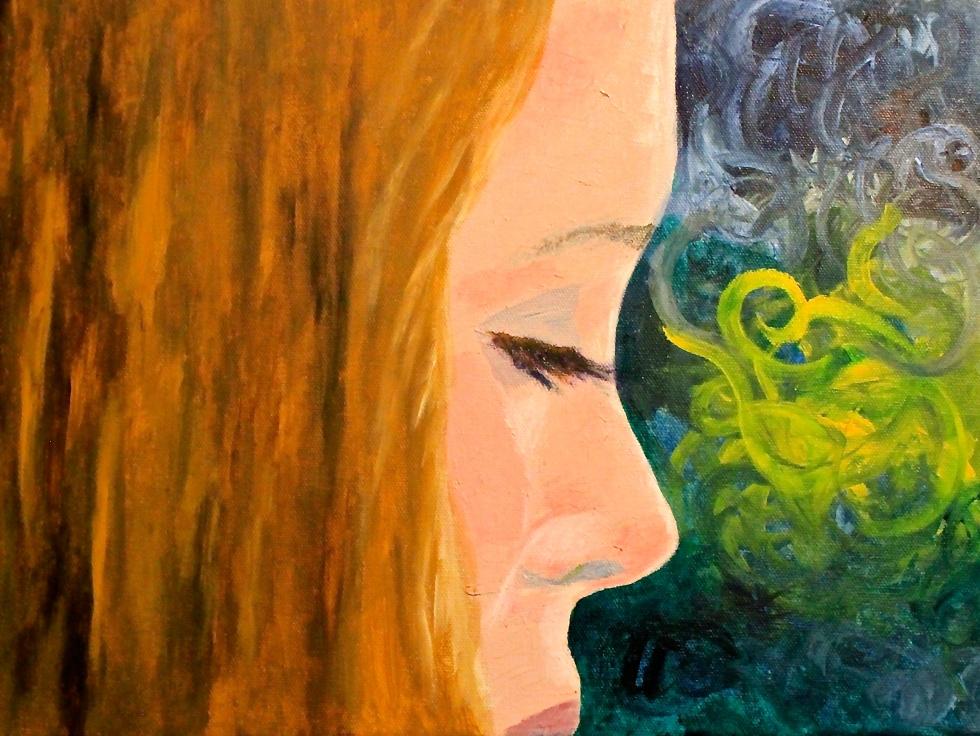 Katie Steinharter acrylic on canvas self-portrait