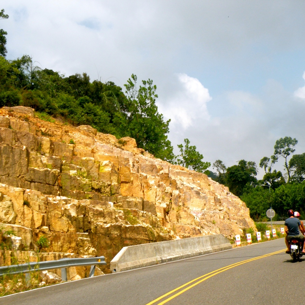 driving up bokor mountain cambodia