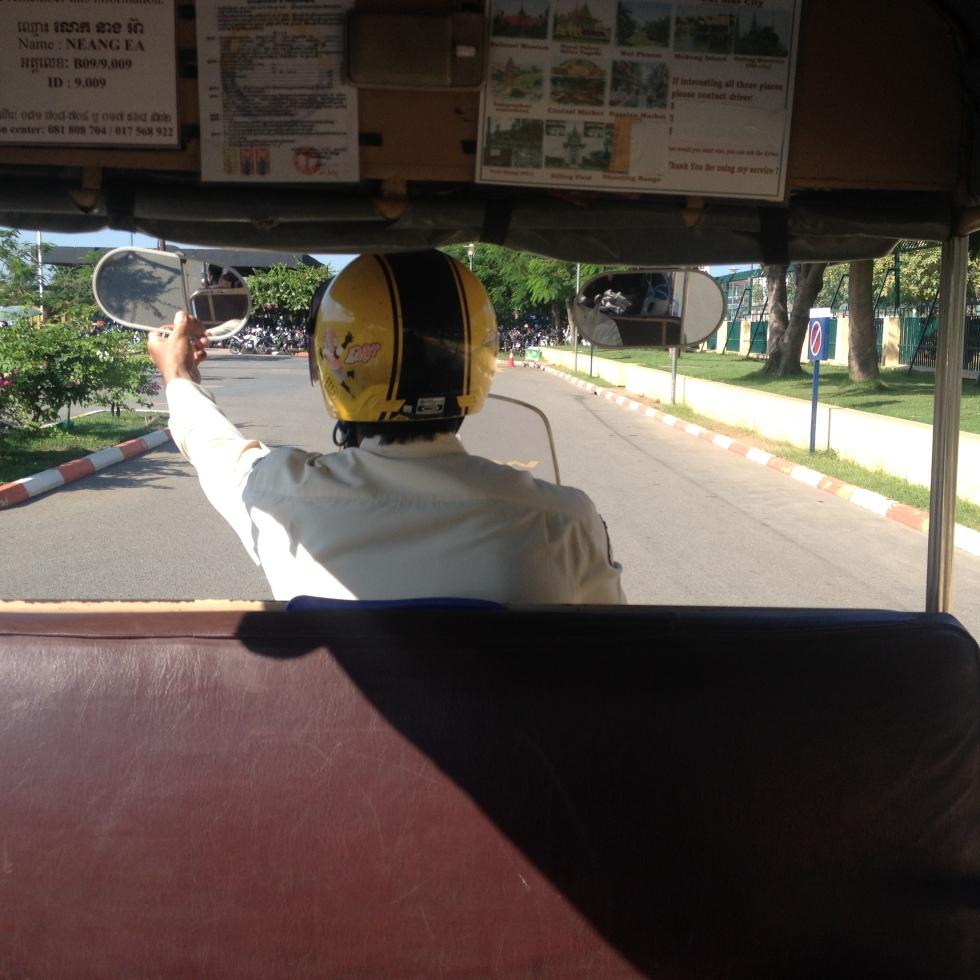 Cambodia Phnom Penh back seat of a tuk tuk ride