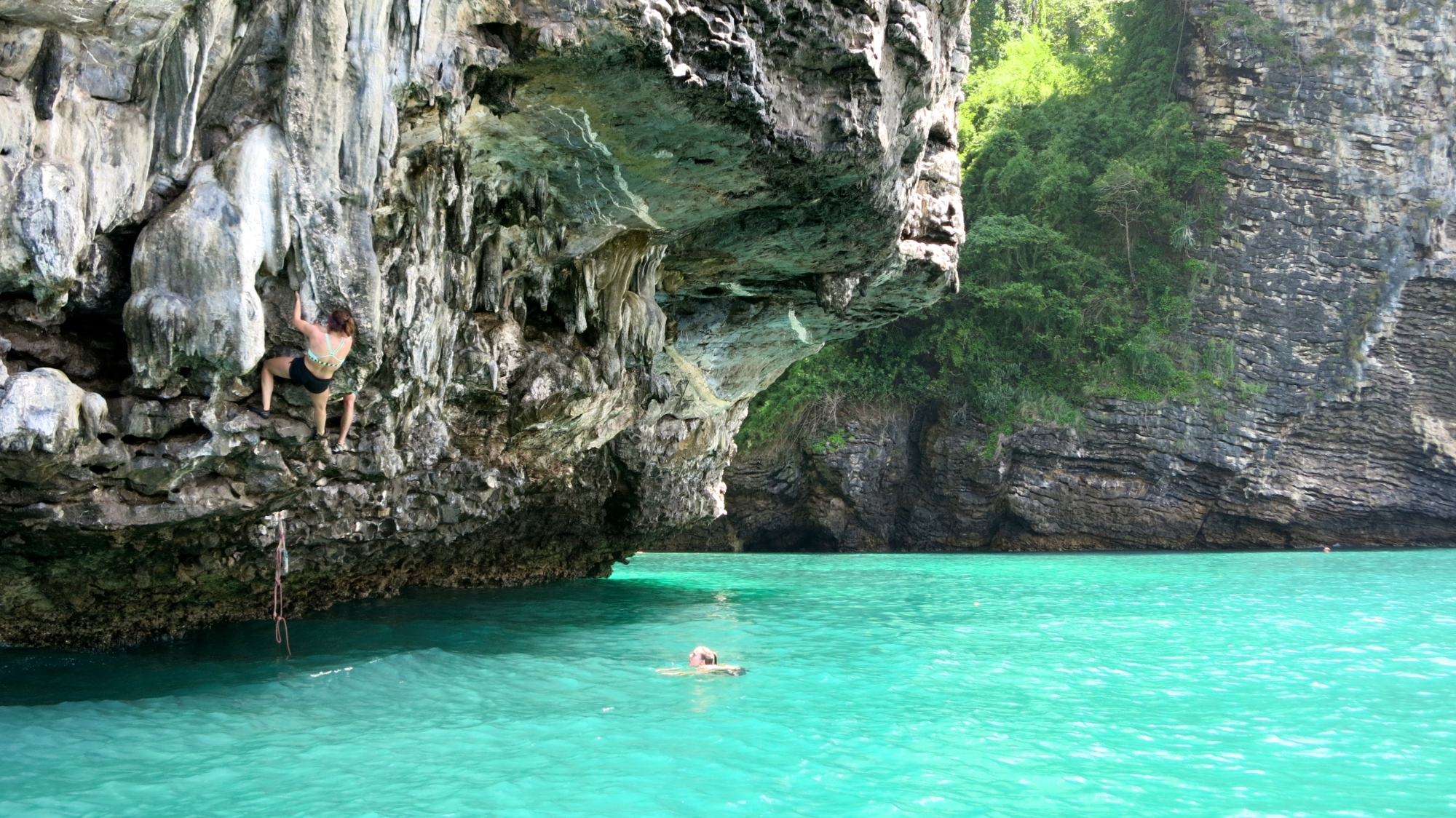 deep water soloing tonsai bay thailand