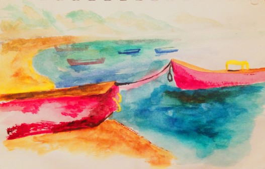Colombian Boats - watercolor on paper