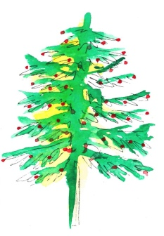 modern watercolor christmas tree by katie steinharter