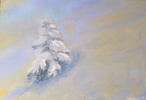 Winter in the Rockies - oil on canvas