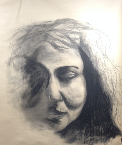 charcoal drawing of female face