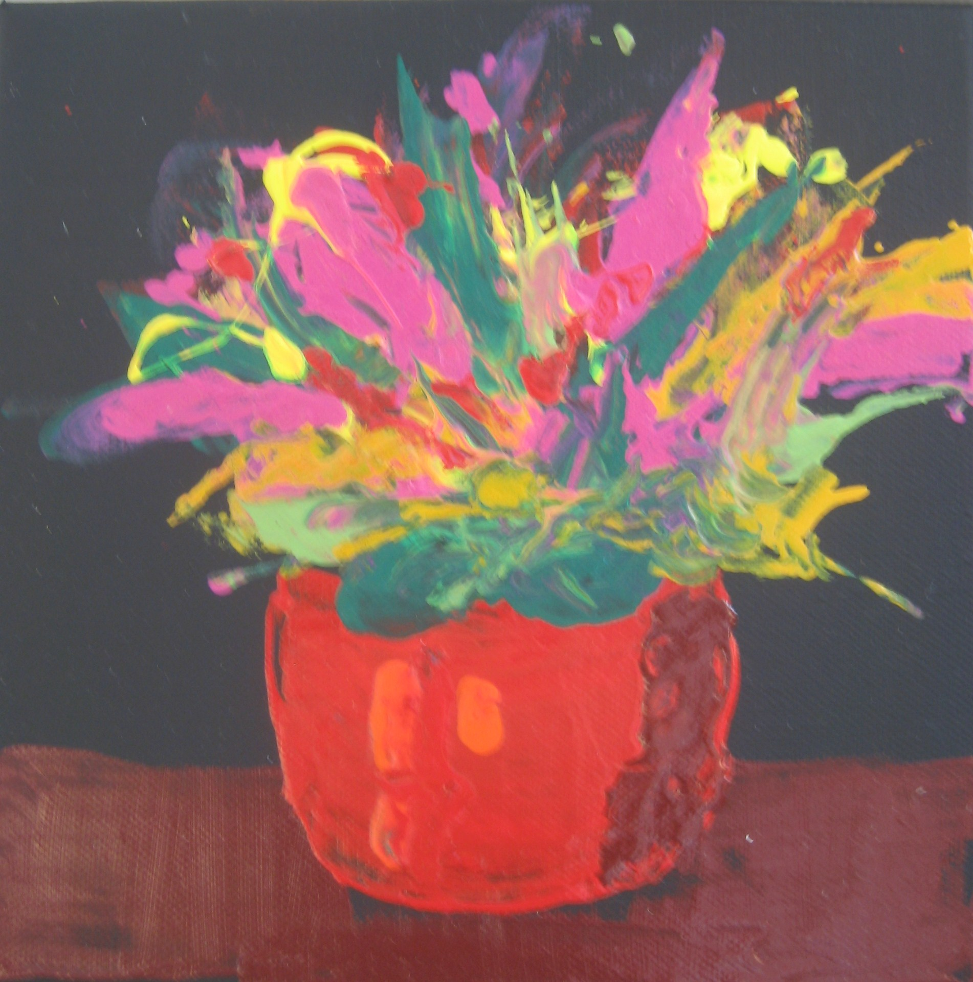 Exuberant flowers with oil paint