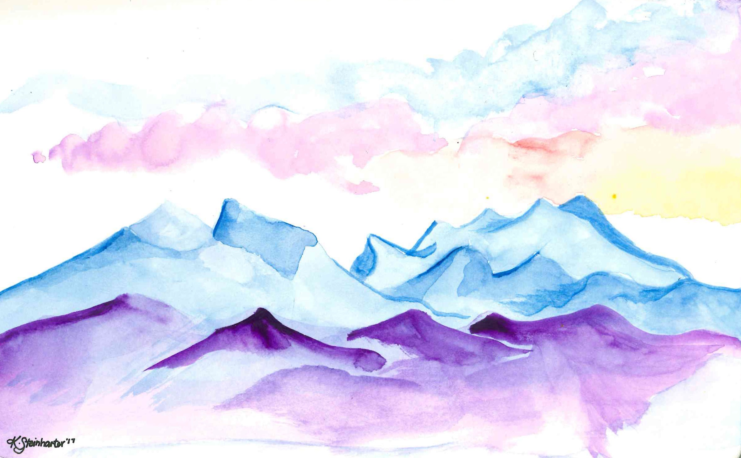 Gore Range Silverthorne watercolor mountains by katie steinharter