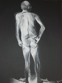 white chalk figure drawing